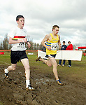 L-R: Dafydd Loughran (Carmarthen Harriers) and Tom Carnall (Bridgend AC)<br /> Welsh Cross Country Championships<br /> Leckwith Stadium<br /> 20.02.05<br /> ©Steve Pope<br /> Sportingwales.com<br /> 07798 83 00 89<br /> The Manor <br /> Coldra Woods<br /> Newport<br /> South Wales<br /> NP18 1HQ