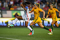 Seattle, WA - Thursday July 27, 2017: Crystal Dunn, Ellie Carpenter during a 2017 Tournament of Nations match between the women's national teams of the United States (USA) and Australia (AUS) at CenturyLink Field.
