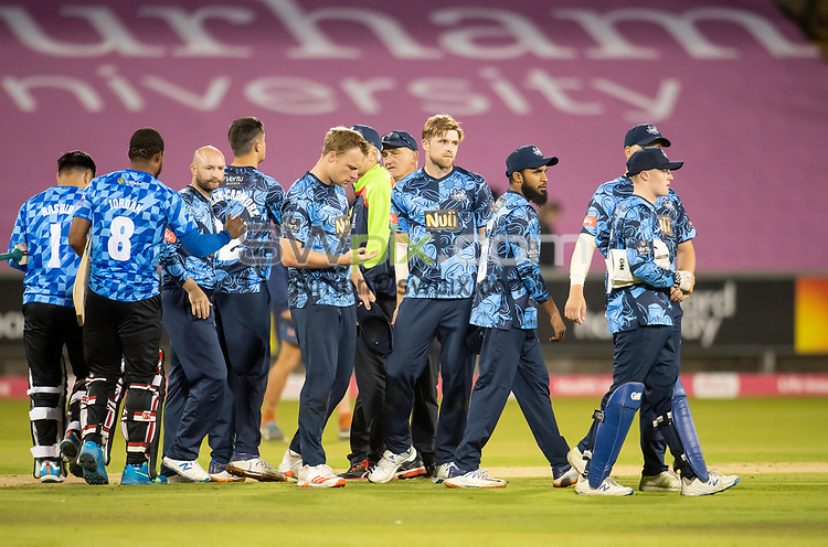 Picture by Allan McKenzie/SWpix.com - 24/08/2021 - Cricket - Vitality Blast Quarter Final - Yorkshire Vikings v Sussex Sharks - Emirates Durham ICG, Chester-le-Street, England - The Yorkshire Vikings's dejected after their loss to the Sussex Sharks.