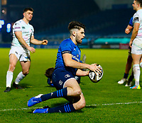 19th March 2021; RDS Arena, Dublin, Leinster, Ireland; Guinness Pro 14 Rugby, Leinster versus Ospreys; Harry Byrne of Leinster scores the opening try for 5 - 0