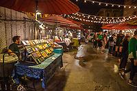 French Quarter, New Orleans, Louisiana.  Frenchmen's Art Market at Night.