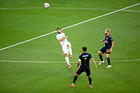 CARSON, CA - JUNE 19: Sebastian Lletget #17 of the Los Angeles Galaxy with a clearing ball during a game between Seattle Sounders FC and Los Angeles Galaxy at Dignity Health Sports Park on June 19, 2021 in Carson, California.