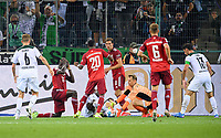 Penalty area scene in front of the goal by goalwart Manuel NEUER (M), left to right Dayot UPAMECANO (M), Marcus THURAM (MG), Bouna SARR (M), Leon GORETZKA (M), goalwart Manuel NEUER (M), duels, action, Soccer 1st Bundesliga, 1st matchday, Borussia Monchengladbach (MG) - FC Bayern Munich (M) 1: 1, on August 13th, 2021 in Borussia Monchengladbach / Germany. #DFL regulations prohibit any use of photographs as image sequences and / or quasi-video # Â
