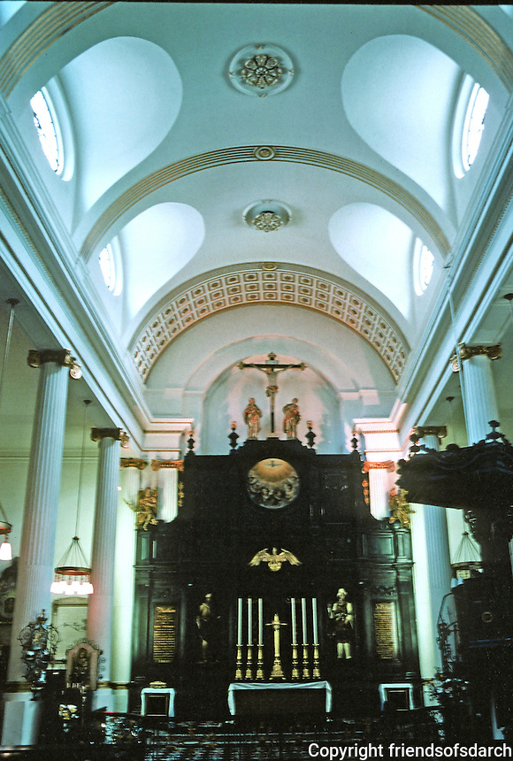 "Sir Christopher Wren: St. Magnus, London 1671-85. Interior. ""One of Wren's more conventional plans..aisles..nave..tunnel vaulting..ionic collonades."""