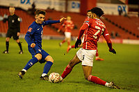11th February 2021; Oakwell Stadium, Barnsley, Yorkshire, England; English FA Cup 5th round Football, Barnsley FC versus Chelsea; Gilmore of Chelsea tackles Palmer of Barnsley