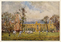 exterior with pupils playing rugby in foreground / Fred Whitehead in 'Warwickshire' page 240 / 1906