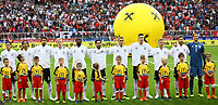 Deutsche Mannschaft bei der Hymne - 02.06.2018: Österreich vs. Deutschland, Wörthersee Stadion in Klagenfurt am Wörthersee, Freundschaftsspiel WM-Vorbereitung