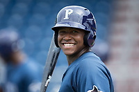 Moises Gomez (21) of the Princeton Rays during batting practice prior to the game against the Danville Braves at American Legion Post 325 Field on June 25, 2017 in Danville, Virginia.  The Braves walked-off the Rays 7-6 in 11 innings.  (Brian Westerholt/Four Seam Images)