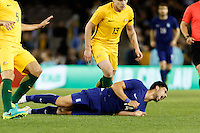 June 7, 2016: ANASTASIOS BAKASETAS (14) of Greece is fouled during an international friendly match between the Australian Socceroos and Greece at Etihad Stadium, Melbourne. Photo Sydney Low