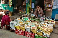 Kathmandu, Nepal.  Market Vendor of Rice, Beans and Grains, Durbar Square.
