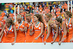 The Hague, Netherlands, June 14: Players of The Netherlands celebrate the win of the World Cup Trophy during the prize giving ceremony on June 14, 2014 during the World Cup 2014 at Kyocera Stadium in The Hague, Netherlands. (Photo by Dirk Markgraf / www.265-images.com) *** Local caption ***