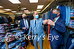 Pat Walsh Manager of Sean Hussey Menswear, Ashe Street, Tralee measuring a suit on Malachy Nagle also in photo is Sean Hussey.