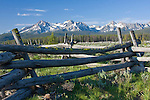 The Sawtooth Range  and rustic fence seen from Stanley Creek Wildlife Interpretive Area, on Hwy 21.