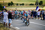 The peloton led by Magnus Cort Nielsen (DEN) Astana Pro Team in action during Stage 10 of the 2019 Tour de France running 217.5km from Saint-Flour to Albi, France. 15th July 2019.<br /> Picture: ASO/Pauline Ballet | Cyclefile<br /> All photos usage must carry mandatory copyright credit (© Cyclefile | ASO/Pauline Ballet)