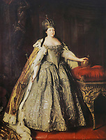 2ATRP82 Russian Empress Anna Ioannovna. Painting by L. Caravaque, 18th century.