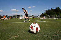 A Nike soccer ball stands ready on the sideline during practice at WakeMed Soccer Park in Cary, NC.
