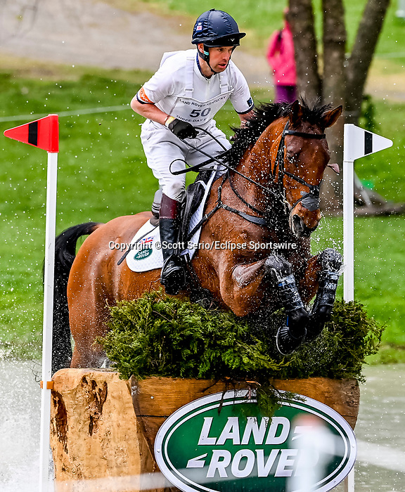 April 24, 2021: Harry Meade competes in the Cross Country phase of the Land Rover 5* 3-Day Event aboard Superstition at the Kentucky Horse Park in Lexington, Kentucky. Scott Serio/Eclipse Sportswire/CSM