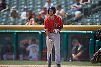 Forrestt Allday (13) of the El Paso Chihuahuas bats against the Salt Lake Bees at Smith's Ballpark on July 8, 2018 in Salt Lake City, Utah. El Paso defeated Salt Lake 15-6. (Stephen Smith/Four Seam Images)