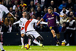 Luis Advincula of Rayo Vallecano (L) fights for the ball with Jordi Alba Ramos of FC Barcelona during the La Liga 2018-19 match between Rayo Vallecano and FC Barcelona at Estadio de Vallecas, on November 03 2018 in Madrid, Spain. Photo by Diego Gouto / Power Sport Images