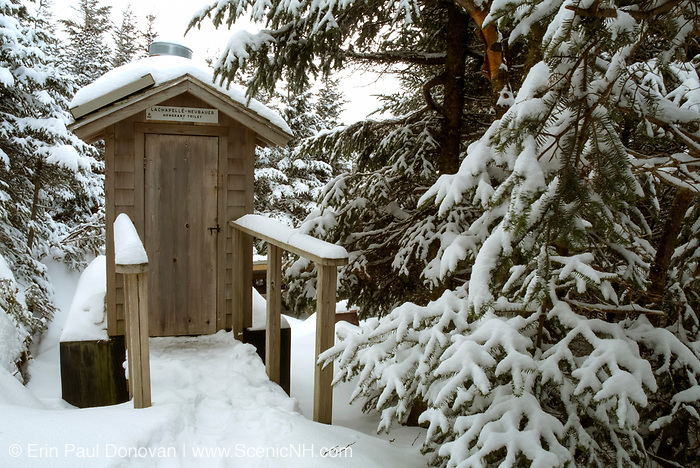 Bio-Sun Composting toilet at Crag Camp which is covered in snow in the Northern Presidential Range. Located in the White Mountain National Forest of New Hampshire USA . Crag Camp was built in 1909 and was the private camp of Nelson H Smith.  A new camp was built in 1993.