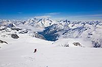 Ski descent of Fluchthorn facing Fletschhorn and Weissmies, Wallis, Switzerland, May 2015.