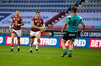 29th April 2021; DW Stadium, Wigan, Lancashire, England; BetFred Super League Rugby, Wigan Warriors versus Hull FC;  Brad Singleton of Wigan Warriors on the ball with  Zak Hardaker of Wigan Warriors supporting from behind