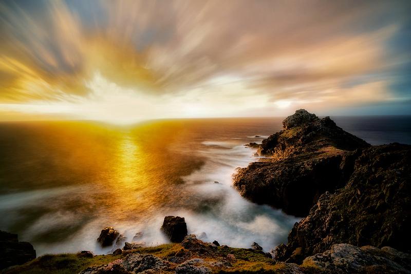 Sunset over Gurnard's Heaqd. Cornwall, England