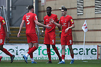 Conor Wilkinson of Leyton Orient (9) scores the first goal for his team and celebrates with his team mates during Leyton Orient vs Oldham Athletic, Sky Bet EFL League 2 Football at The Breyer Group Stadium on 27th March 2021