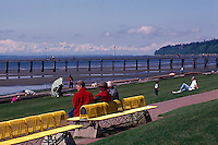 White Rock, BC, British Columbia, Canada - Seaside Promenade Walkway along Beach at Semiahmoo Bay