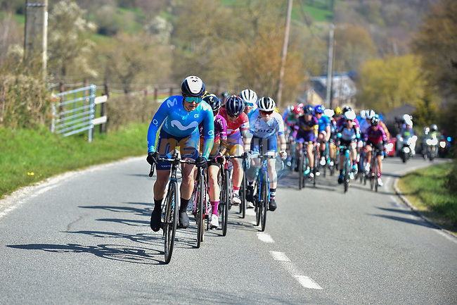 The peloton during Liege-Bastogne-Liege Femmes 2021, running 141km from Bastogne to Liege, Belgium. 25th April 2021.  <br /> Picture: A.S.O./Gautier Demouveaux | Cyclefile<br /> <br /> All photos usage must carry mandatory copyright credit (© Cyclefile | A.S.O./Gautier Demouveaux)