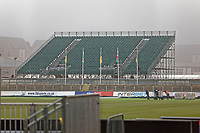 Pictured: The temporary stand erected at Rodney Parade in Newport, Wales, UK. Thursday 14 February 209<br /> Re: The city of Newport is preparing to host the FA Cup match between Newport County and Manchester City at Rodney Parade, Newport, Wales, UK.