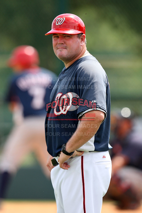 October 6, 2009:  Coach Matt LeCroy of the Washington Nationals organization during an Instructional League game at Space Coast Stadium in Viera, FL.  LeCroy played eight seasons in the major leagues with the Minnesota Twins and Washington Nationals.  Photo by:  Mike Janes/Four Seam Images