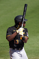 Pittsburgh Pirates Ke'Bryan Hayes (13) bats during a Major League Spring Training game against the Baltimore Orioles on February 28, 2021 at Ed Smith Stadium in Sarasota, Florida.  (Mike Janes/Four Seam Images)
