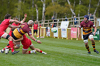 Charlie BECKETT (4) of Ampthill passes to Billy JOHNSON (6) of Ampthill during the Greene King IPA Championship match between Ampthill RUFC and Jersey Reds at Dillingham Park, Ampthill, England on 1 May 2021. Photo by David Horn.