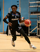 Tony Hicks of Surrey Scorchers during the BBL Championship match between Surrey Scorchers and Newcastle Eagles at Surrey Sports Park, Guildford, England on 20 March 2021. Photo by Liam McAvoy.