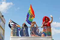 Pictured: The top of the parade bus. Saturday 04 May 2019<br /> Re: Swansea Pride Parade in south Wales, UK.