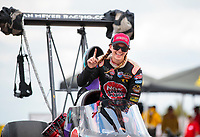 Oct 20, 2019; Ennis, TX, USA; NHRA top alcohol dragster driver Megan Meyer celebrates after winning the Fall Nationals at the Texas Motorplex. Mandatory Credit: Mark J. Rebilas-USA TODAY Sports