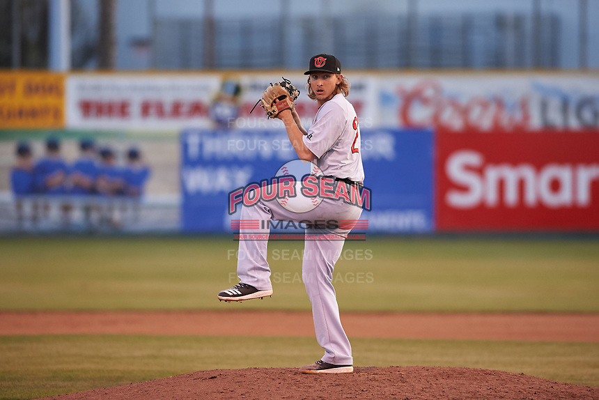 Visalia Rawhide relief pitcher West Tunnell (27) during a California League game against the San Jose Giants on April 13, 2019 at San Jose Municipal Stadium in San Jose, California. Visalia defeated San Jose 4-2. (Zachary Lucy/Four Seam Images)