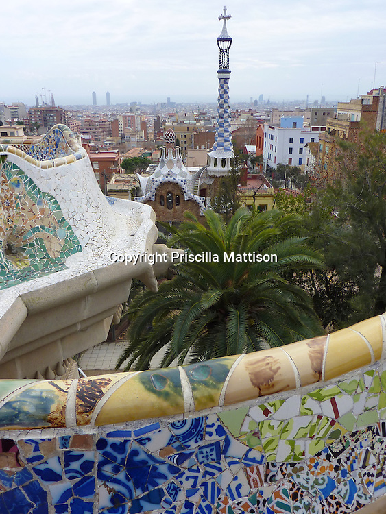 Barcelona, Spain - January 28, 2011:  The city is spread out below Parc Guell.