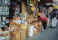 San Francisco, California, Chinatown. Grocery Drygoods Spill out onto Sidewalk.