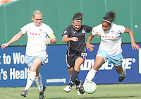 Lisa De Vanna #17 of the Washington Freedom loses the ball to Chioma Igwe #12 of the Chicago Red Stars during a WPS match at RFK stadium on June 13 2009 in Washington D.C. The game ended in a 0-0 tie.