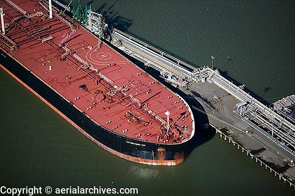 aerial photograph oil tanker Chevron Long Wharf, Richmond, California