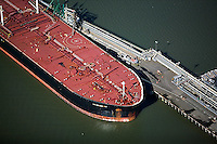 aerial photograph oil tanker Chevron Long Wharf, Richmond, California