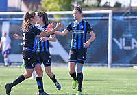 Charlotte Laridon (15) of Club Brugge pictured celebrating with teammates after scoring a goal during a female soccer game between Club Brugge Dames YLA and RSC Anderlecht on the fourth matchday in Play-Off 1 of the 2020 - 2021 season of Belgian Scooore Womens Super League , saturday 1st May 2021  in Brugge , Belgium . PHOTO SPORTPIX.BE | SPP | DAVID CATRY