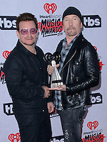 U2 Bono + The Edge @ the 2016 iHeart Radio Music awards held @ the Forum.<br /> April 3, 2016