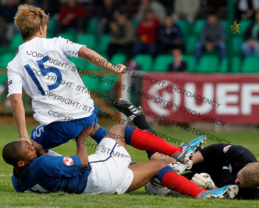 Soccer, UEFA U-17.France Vs. England.Sebastien Haller, Samuel Magri and goalkeeper Jordan Pickford in action.Indjija, 03.05.2011..foto: Srdjan Stevanovic