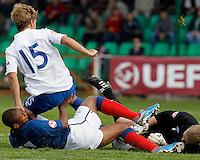 Soccer, UEFA U-17.France Vs. England.Sebastien Haller, Samuel Magri and goalkeeper Jordan Pickford in action.Indjija, 03.05.2011..foto: Srdjan Stevanovic