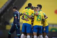 9th October 2020; Arena Corinthians, Sao Paulo, Sao Paulo, Brazil; FIFA World Cup Football Qatar 2022 qualifiers; Brazil versus Bolivia; Players of Brazil celebrates scored goal by Roberto Firmino in the 30th minute 2-0