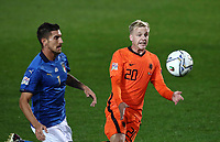 Italy's Lorenzo Pellegrini, left, and Netherlands' Donny van de Beek fight for the ball during the for UEFA Nations League football match between Italy and Netherlands at Bergamo's Atleti Azzurri d'Italia stadium, October 14, 2020.<br /> UPDATE IMAGES PRESS/Isabella Bonotto