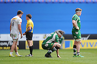Matt Symons and Luke Narraway of London Irish look dejected as their relegation is confirmed after losing the Aviva Premiership match between London Irish and Harlequins at the Madejski Stadium on Sunday 1st May 2016 (Photo: Rob Munro/Stewart Communications)